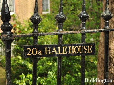 Hale House sign on the fence in Canning Passage