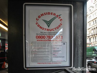 Considerate Constructors scheme poster at W5 South development