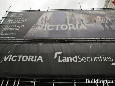 Banner for Kings Gate and Zig Zag Building at the site in June 2013.