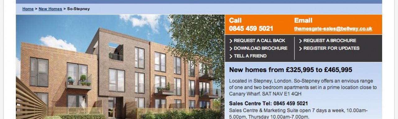 Screen capture of So Stepney page on Bellway website www.bellway.co.uk.