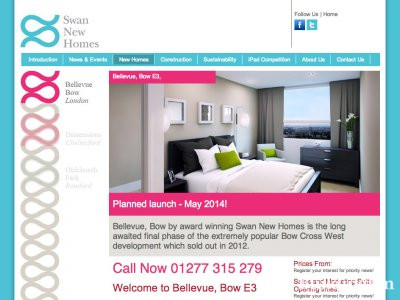 Screen capture of Bellevue development page on Swan New Homes website at www.swannewhomes.co.uk/bellevue