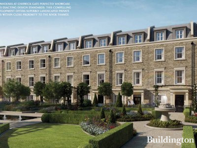 CGI of the townhouses at Chiswick Gate development on Burlington Lane in Chiswick, London W4. Source: Development brochure at www.berkeleygroup.co.uk.
