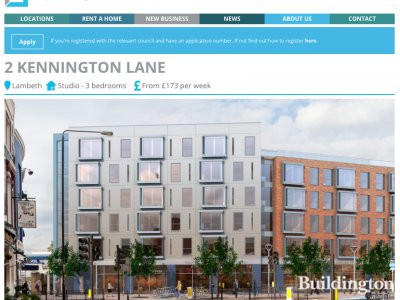 Screen capture of 2 Kennington Lane development on Dolphin Square Foundation website