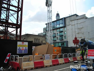 Fitzrovia Apartments - View to the construction site from Bolsover Street