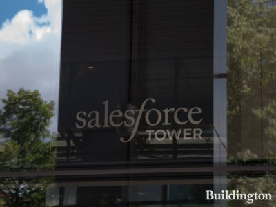 Salesforce Tower name in the lobby of the former Heron Tower.