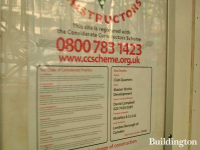 Considerate Constructors poster at Club Quarters.