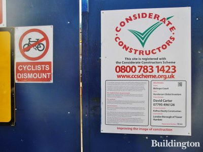 Considerate Constructors poster on The Steward Building site in November 2013.