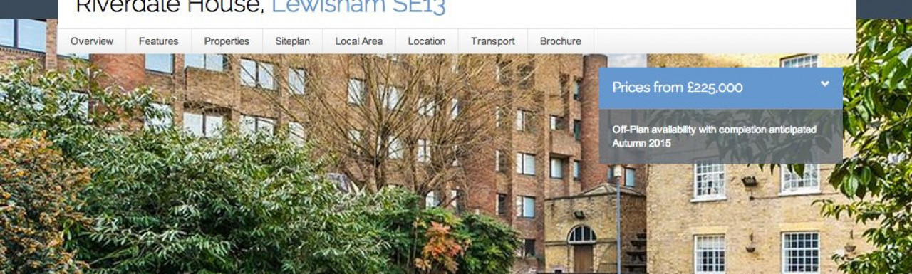 Screen capture of Riverdale House development page on Galliard Homes website www.galliardhomes.com.