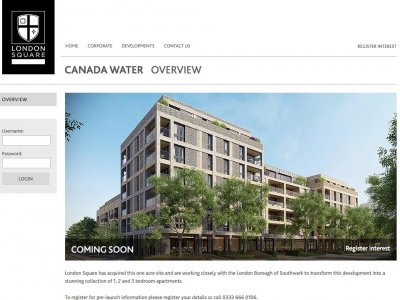 Screen capture of London Square Canada Water development page at www.londonsquare.co.uk