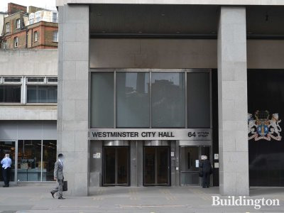Entrance to Westminster City Hall on Victoria Street
