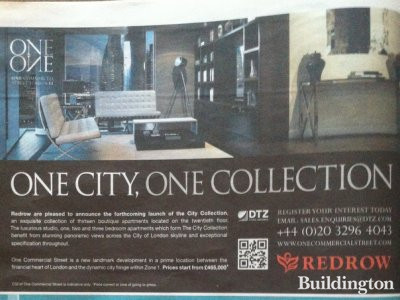 Image of the One Commercial Street development advert in Evening Standard/Homes & Property