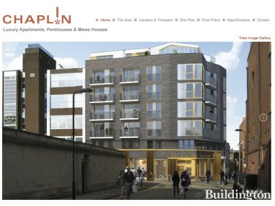 Screen capture of Chaplin Apartments website at www.chaplinapartments.co.uk