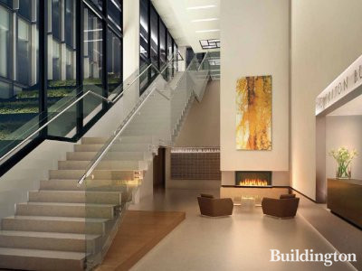 CGI of The Triton Building's triple height entrance with a 24 hour, lifestyle concierge
