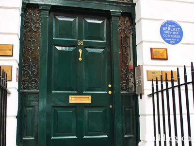Blue plaque for composer Hector Berlioz, who stayed here in this house in 1851.