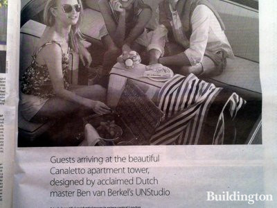 Guests arriving at the beautiful Canaletto apartment tower, designed by acclaimed Dutch master Ben van Berkel's UNStudio. Advertisement for Canaletto in Homes & Property, Evening Standard 02.04.2014.