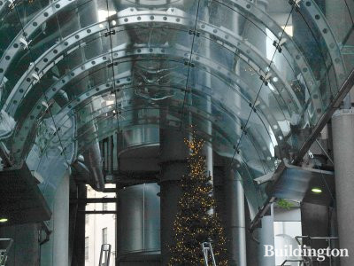 Christmas tree at the entrance of Lloyds Building in December 2012