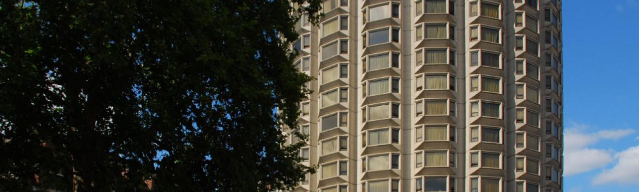 View to Sheraton Park Tower from Lowndes Square.