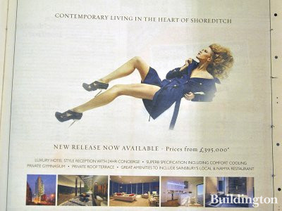 Avant-garde Tower - Contemporary living in the heart of Shoreditch. Advertising in Homes & Property, Evening Standard 06.03.2013