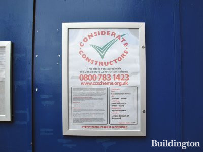 Considerate Constructors poster on Sea Containers House development.