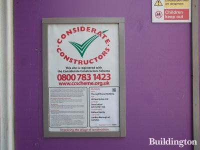 Considerate Constructors Scheme banner at The lighthouse Building site.
