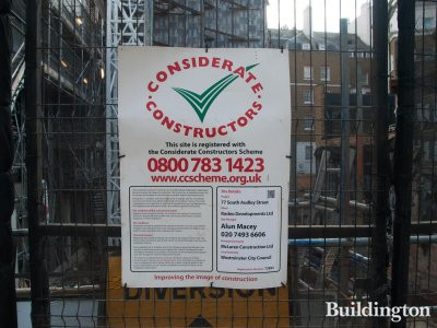 Considerate Constructors Scheme banner at 77 Mayfair development site in September 2014.