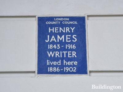 Blue plaque by London County Council says: 'Henry James 1843-1916, Writer, lived here 1886-1902.