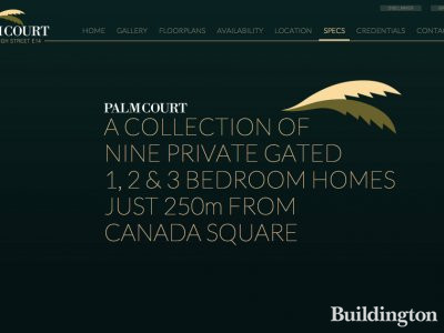 Screen capture of Palm Court website at www.palmcourte14.co.uk.