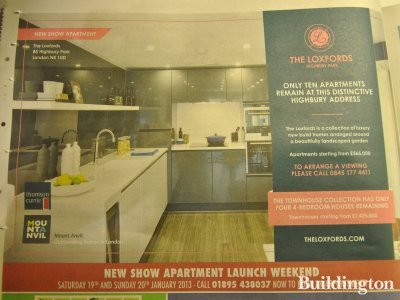 New show apartment launch weekend Saturday 19th and Sunday 20th January 2013. Advertisement for The Loxfords development in Homes & Property section of Evening Standard of January 16 2013.