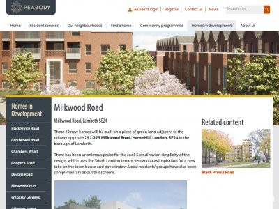 Screen capture of Milkwood Road development page at Peabody.org.uk website.