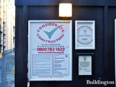Considerate Constructors Scheme poster at 20 Fenchurch Street development site.