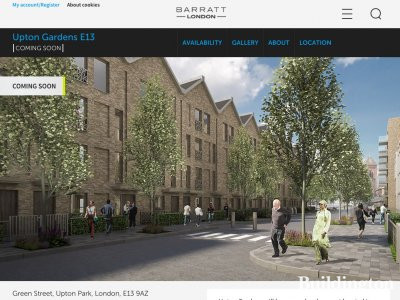 Screen capture of Upton Gardens development on Barratt London website