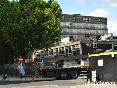 North Wharf Gardens development site in May 2011. View to the former North Westminster Community School buildings from Merchant Square