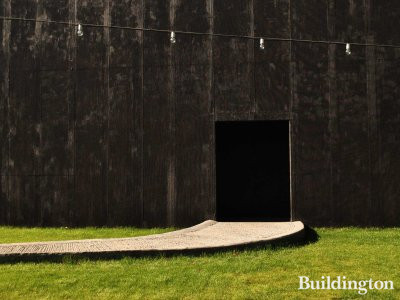 One of the entrances to Serpentine Gallery Pavilion 2011 designed by Peter Zumthor