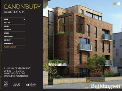 Screen capture of Canonbury Apartments website at canonburyapartments.co.uk