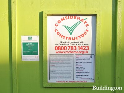 Considerate constructors scheme banner at 38 Northampton Road.