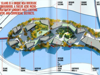 Screen capture of City Island site map in the development brochure downloadable at www.cityisland.com.
