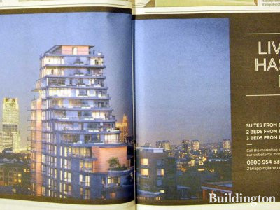 21 Wapping Lane advertisement in Homes & Property, Evening Standard 20. February 2013 issue