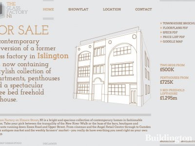 Screen capture of The Glass Factory website at www.glassfactoryn1.co.uk in February 2013