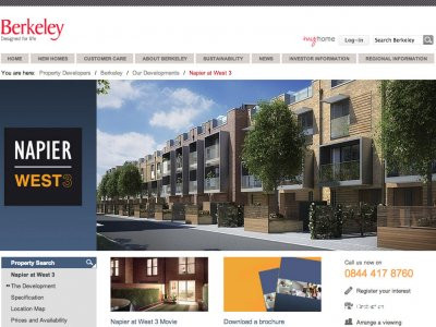Screen capture of Napier at West 3 development page on Berkeley Homes website berkeleygroup.co.uk
