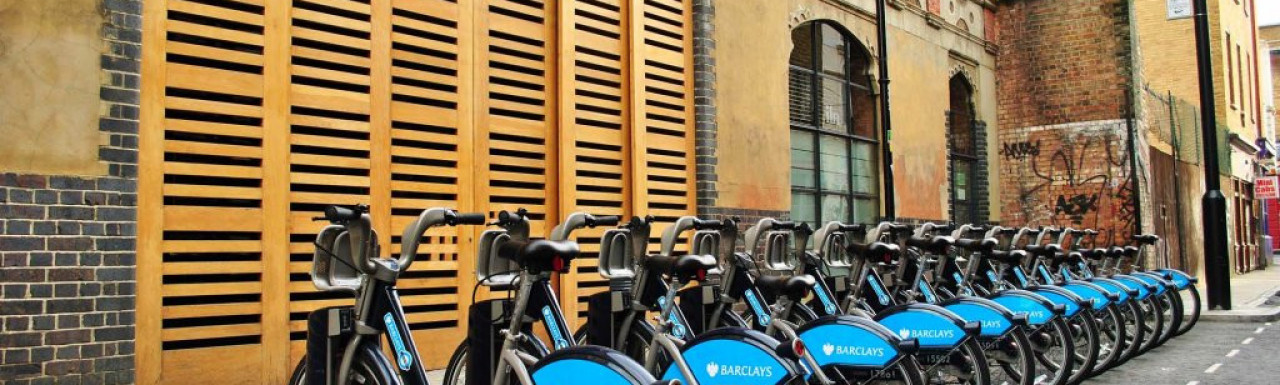 Barclays bikes in front of 40-48 Fashion Street.