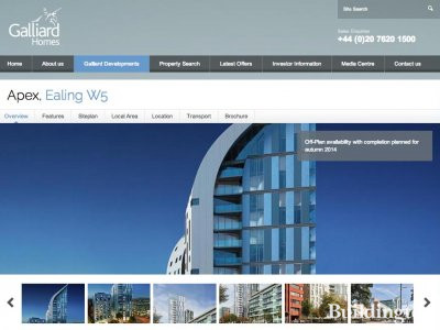 Screen capture of Apex development page on Galliard Homes website at www.galliardhomes.com/apex.