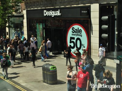 Desigual store's last sale at 360-366 Oxford Street before closing.