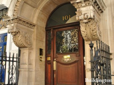 Grand entrance to 101 Harley Street