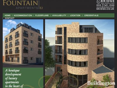 Screen capture of Fountain Apartments website at www.fountainapartments.co.uk