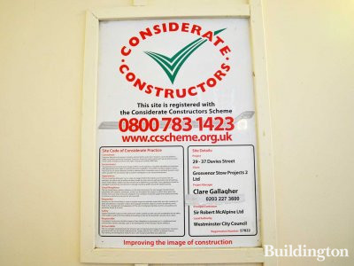 29-37 Davies Street. Considerate Constructors banner at the site in March 2013