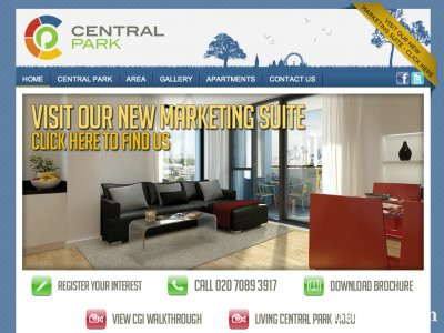 Screen capture of Central Park development website at www.centralparkliving.co.uk