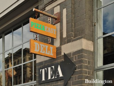 Tea building sign