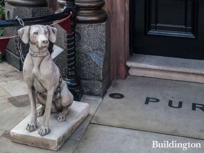 Guarding the front of Purdey store in Mayfair.