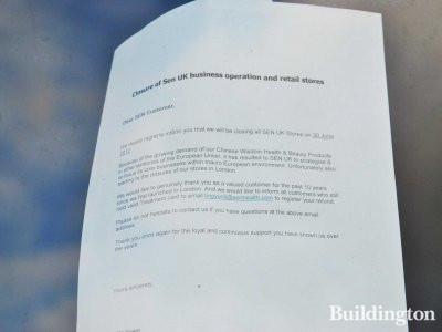 Closure of Sen UK business operation and retail stores - note on the window at 243 Westbourne Grove