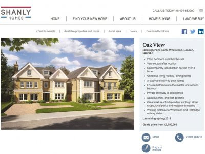 Oak View development page on Shanley Homes website